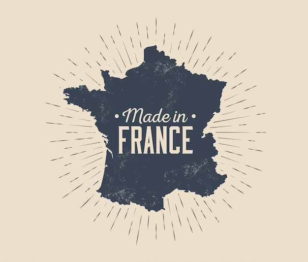 Made in france vintage black and white label or tag or logo or badge design template with france map silhouette and sunburst isolated on light background. illustration