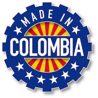コロンビア製の旗のカラースタンプ。ベクトルイラスト