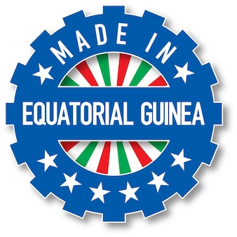 赤道ギニアの国旗のカラースタンプで作られました。ベクトルイラスト