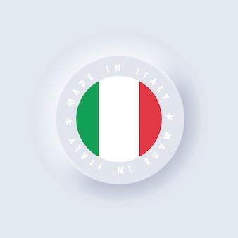 이태리에서 만듦. 이탈리아 메이드. 이탈리아 품질 상징, 레이블, 기호, 버튼. 이탈리아 국기.