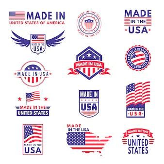 Сделано в сша. флаг сделал америка американские штаты флаги продукт знак качества патриотические этикетки эмблема звезда лента наклейка, комплект