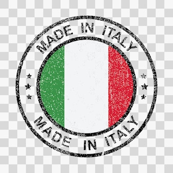 Made in italy stamp in grunge style