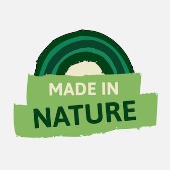 Fatto in natura adesivo vettore per una campagna di marketing alimentare dieta sana