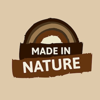 Made in nature sticker vector for healthy diet food marketing campaign