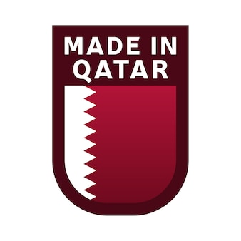 Made in qatar icon. national country flag stamp sticker. vector illustration simple icon with flag
