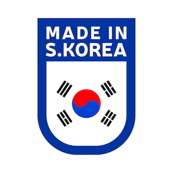 Made in south korea icon. national country flag stamp sticker. vector illustration simple icon with flag