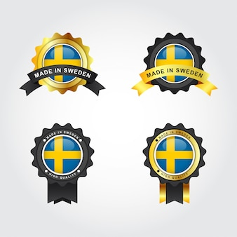 Made in sweden with emblem badge labels