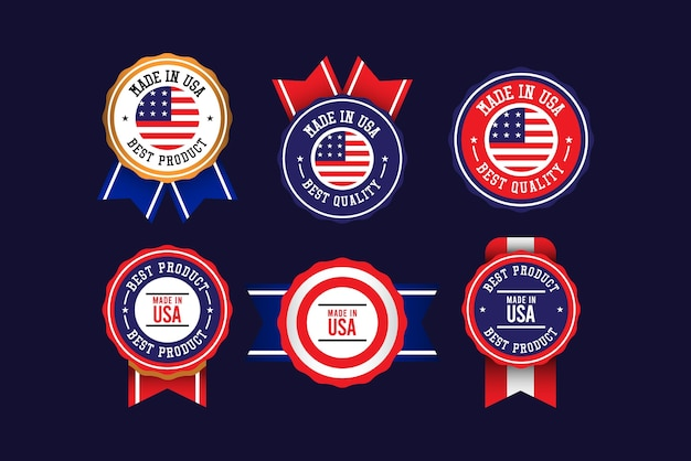 Made in united states label set  template.