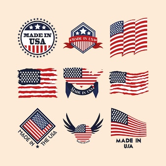 Made in usa badges Premium Vector