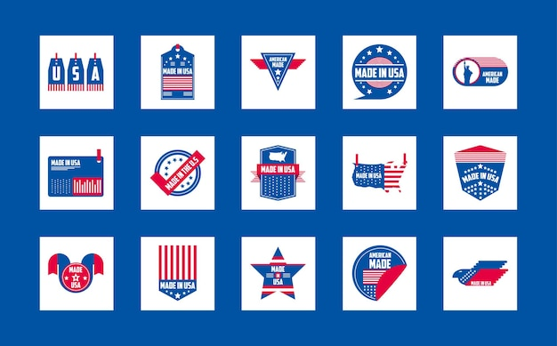 Made in usa banners and labels icon collection design, american quality business and national theme