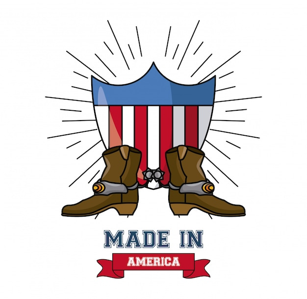 Made in usa cowboy boots on badge vector illustration graphic design