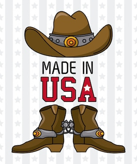 Made in usa cowboy hat with boots vector illustration graphic design