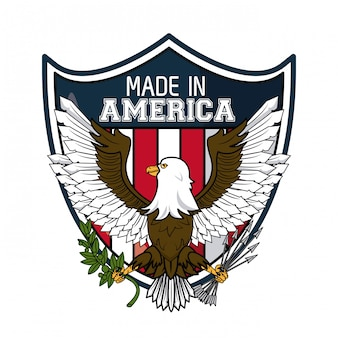 Made in usa eagle hawk on shield vector illustration graphic design
