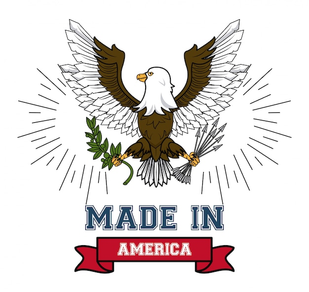 Made in usa eagle hawk with ribbon banner vector illustration graphic design