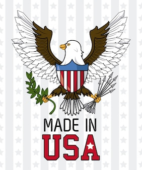 Made in usa eagle hawk with shield vector illustration graphic design