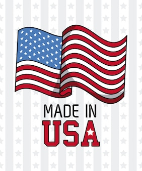 Made in usa flag over stripes and stars background vector illustration graphic design