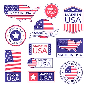 Made in usa label. american flag proud stamp, made for usa labels icon and manufacturing in america stocker isolated  set