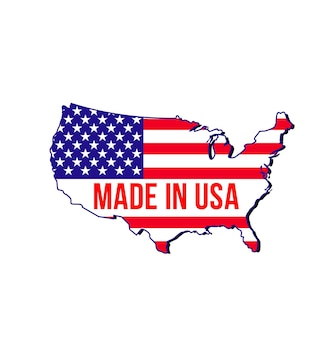 Made in usa label, map and flag of united states