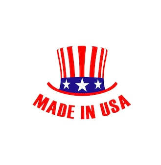 Made in usa label with hat. vector emblem or sign
