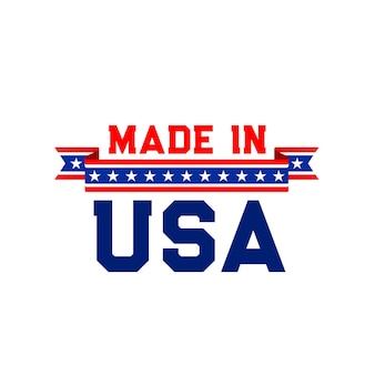 Made in usa label with united state flag ribbon