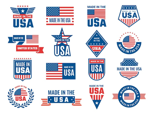 Made in usa logo. label for patriot american flag and special symbols for usa stamps design.