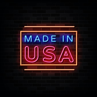 Made in usa neon sign . design template neon sign