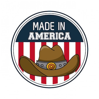 Made in usa round emblem with cowboy hat vector illustration graphic design
