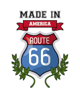 Made in usa route 66 sign and leaves vector illustration graphic design