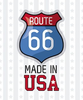 Made in usa route 66 sign vector illustration graphic design