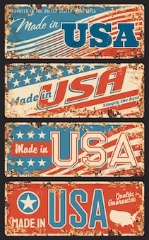Made in usa rusty metal plates, old retro signboards with united states of america national flag stripes and stars,