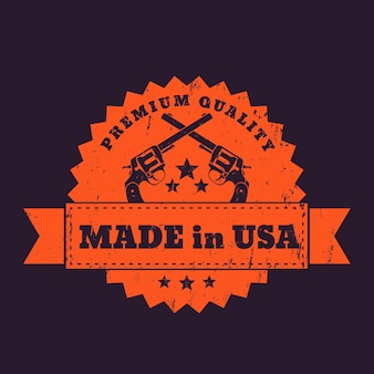 Made in usa stamp with crossed revolvers