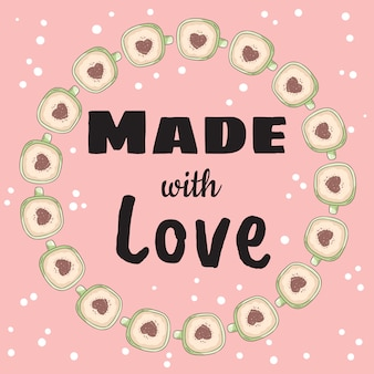 Made with love banner with cups of coffee with heart cinnamon powder