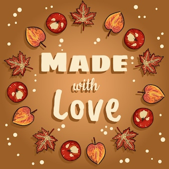 Made with love decorative wreath cute cozy banner
