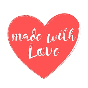 Made with love handwritten style heart vector illustration