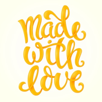 Made with love poster with hand-drawn lettering