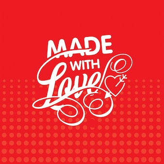 Made with love with red pattern background