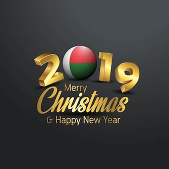 Madgascar flag 2019メリークリスマスタイポグラフィー