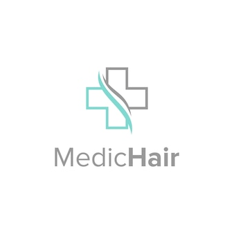 Madical and hair symbols simple sleek creative geometric modern logo design