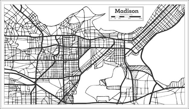 Карта города мэдисон сша в стиле ретро. контурная карта. векторные иллюстрации.