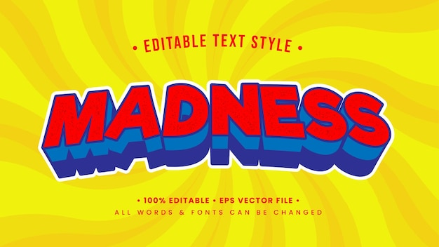 Madness vintage retro 3d text style effect. editable illustrator text style.