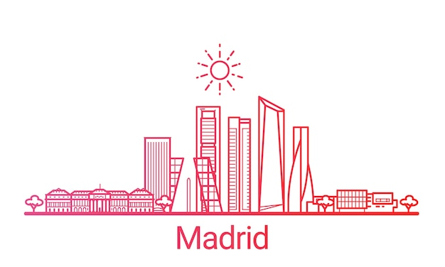 Madrid city colored gradient line