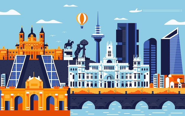 Madrid city colorful flat design style. cityscape with all famous buildings. skyline of madrid city composition for design. travel and tourism background. vector illustration