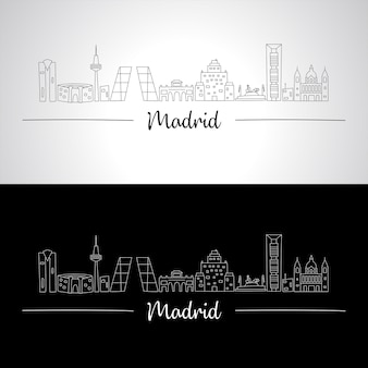 Madrid skyline with all famous buildings