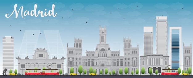 Madrid skyline with grey buildings and blue sky