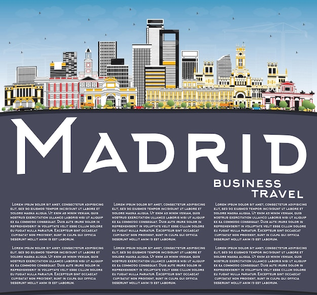Madrid spain city skyline with gray buildings, blue sky and copy space.   business travel and tourism concept with historic architecture.