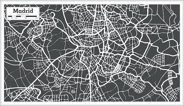 レトロなスタイルのマドリードスペイン地図。ベクトルイラスト。