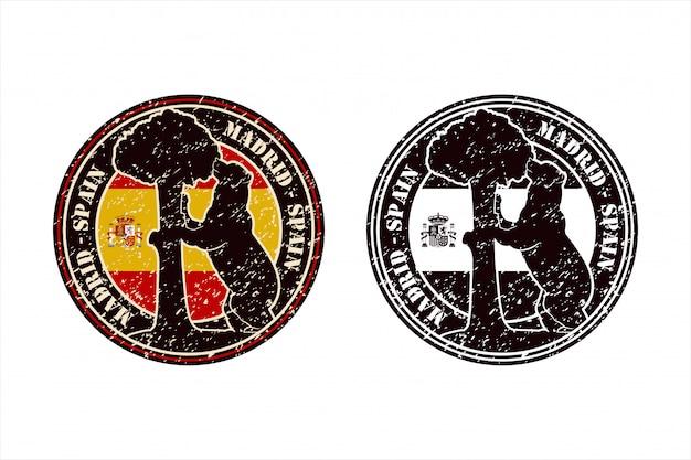 Madrid spain stamp travel  design   logo