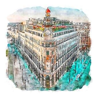 Madrid spain watercolor sketch hand drawn illustration