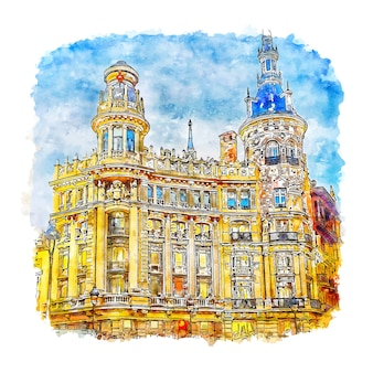 Madrid spain watercolor sketch hand drawn illustration