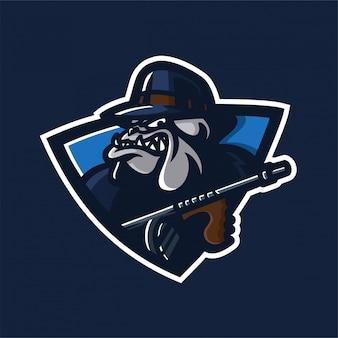 Шаблон логотипа малины бульдога